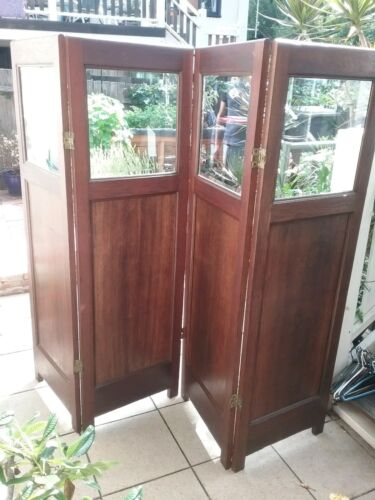 English oak 4 panel screen with bevelled glass c.1920s