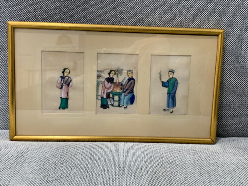 Antique Chinese Qing Dynasty 3 Framed Rice Paper Pith Paintings Man & Woman