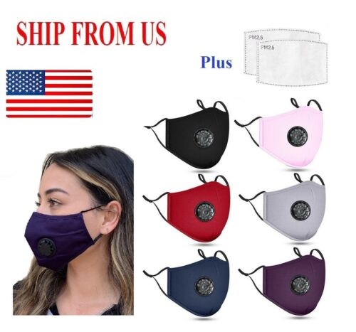 Adult PM2.5 Cotton Respirator Mask Mouth Cover 12 Colors Avai.+2 Carbon Filters  <br/> With Nose Bridge Adjustment Wire! US Ship in 24 hrs!