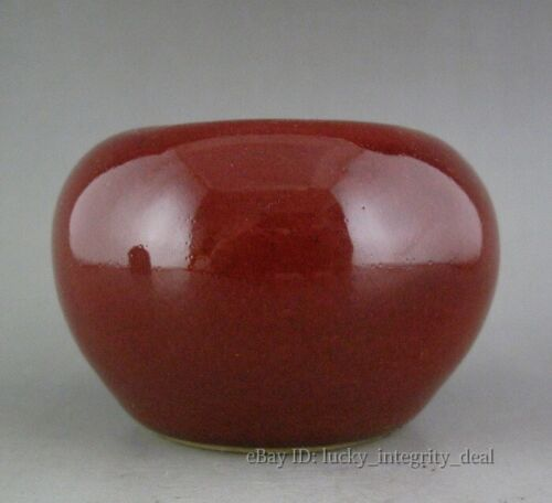 A Pair 2 Chinese Old Red Glaze Porcelain Brush Washers Water Jars
