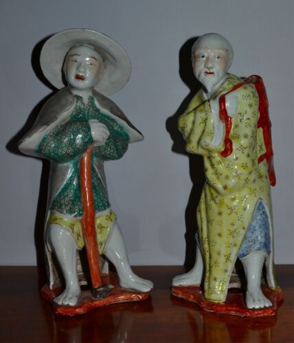 Pair Antique Chinese Hand-Painted Porcelain Figures Famille Verte
