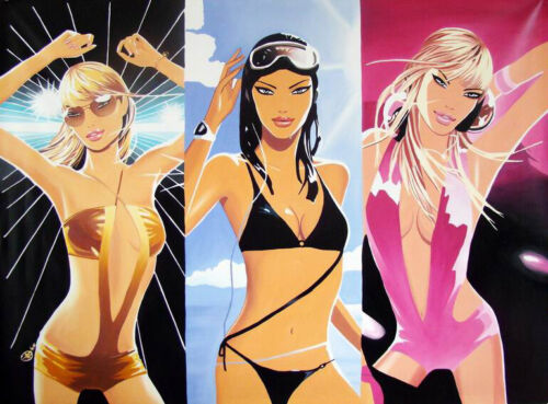 "Oil Painting on Canvas Art - ""Hed Kandi - Three Sexy Ladies""- 100% HAND PAINTED"