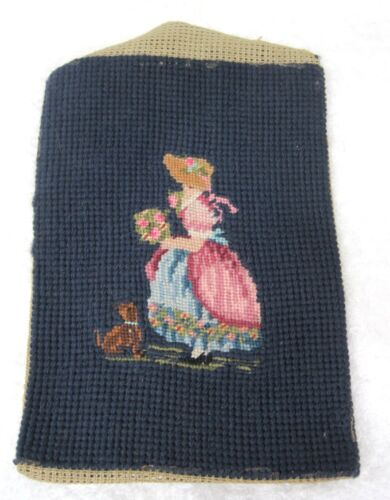 """Vintage Petite Point Girl w Posy Flowers and Little Puppy Dog 7"""" x 5"""" T76"""