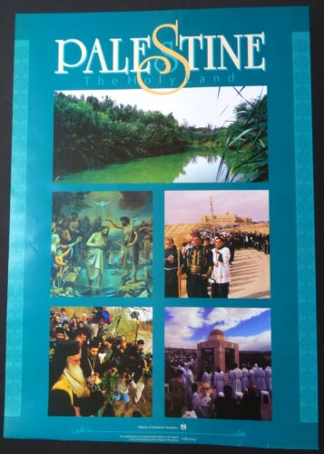 Original PALESTINE HOLY LAND Poster #3 / Palestian Tourism Art with Five Photos