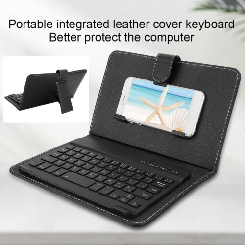 """Leather Cover Wireless Bluetooth Keyboard For 4.5""""-6.8"""" Android/iOS Mobile Phone"""