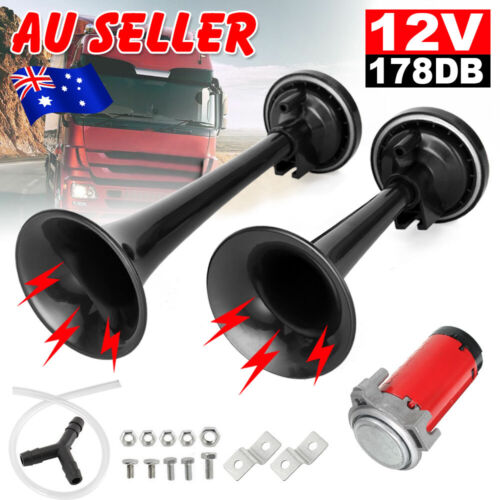 178db Car Truck Air Horn Mega Train Single Trumpet Kit w DC 12V Compressor Black