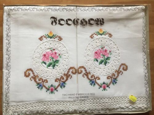Vintage New Two Hand Embroidered Pillow Cases New In Box