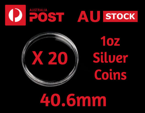 Coin Capsules Protectors Clear Acrylic 40.6 mm X 20 Perth Mint 1 Oz Silver Coins