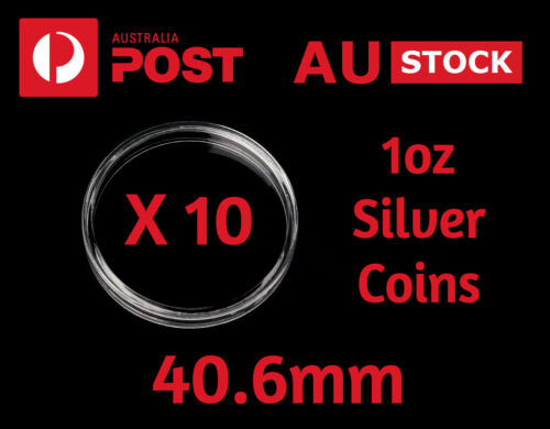 Coin Capsules Protectors Clear Acrylic 40.6 mm X 10 Perth Mint 1 Oz Silver Coins
