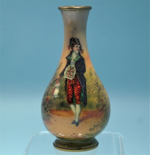 French Art Nouveau Limoges Hand Painted Enamel Cabinet Signed Vase Circa 1900