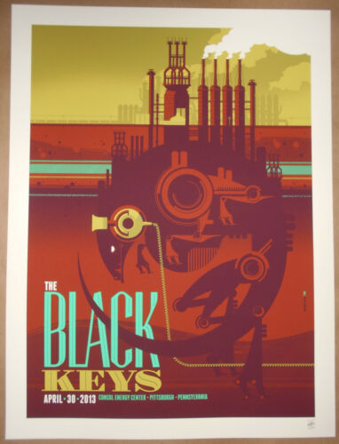 The Black Keys Pittsburgh PA 2013 Print Poster Tom Whalen Signed #d Flaming Lips