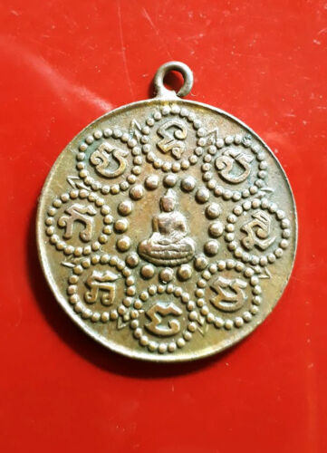 Old Thai Buddha Amulet Coin For Lucky Pendant, B.E.2461, Genuine From Temple