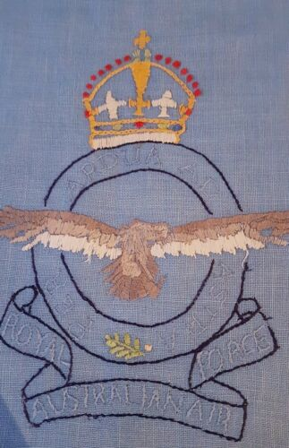 VTG Hand EMBROIDERED RAAF ROYAL AUSTRALIAN AIR FORCE Blue BAG w Crown & Eagle
