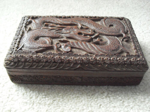 Unusual Antique Wood Jewelry Trinket Box Large Carved Dragon on Lid