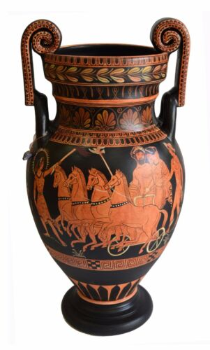 Hades on Chariot with Persephone - Red Figure Volute Krater Vase