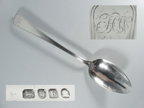Antique Georgian 1800 Sterling Silver Tablespoon Spoon Old English Thread London