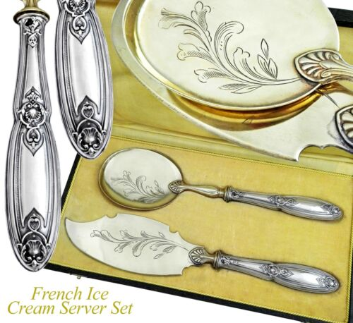 Boxed French Sterling Silver 2pc Ice Cream Dessert Set