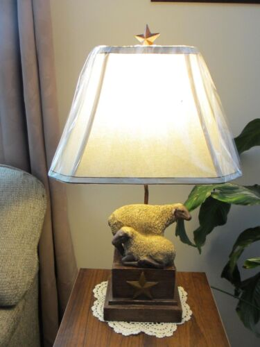 Primitive* Resin Sheep Table Lamp w/ Shade* Star* Country Farmhouse* Star Finial