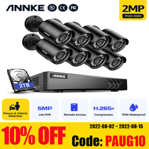 ANNKE 8CH 5MP Lite H.265+ DVR 1080P Home Outdoor CCTV Camera Security System 2TB