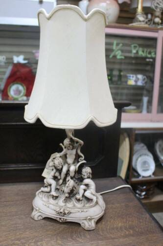 A Gorgeous Vintage French Rococo Cherub Table Lamp with Shade