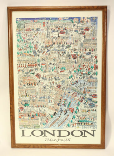 Vtg Peter Smith London Illustrated Map Poster Art Print City Cartoon Picturemaps