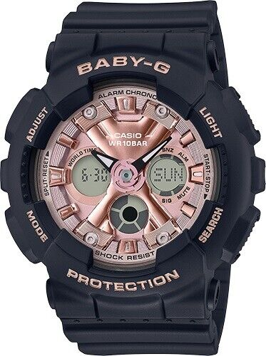 Casio Baby-G * BA130-1A4 Anadigi Rose Gold & Black Resin Watch for Women <br/> Nationwide COD, Free Ship, Meet Up, PayPal Accepted