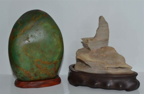 Two (2) Old Chinese Miniature Scholar's Rocks on Wood Stands Jade
