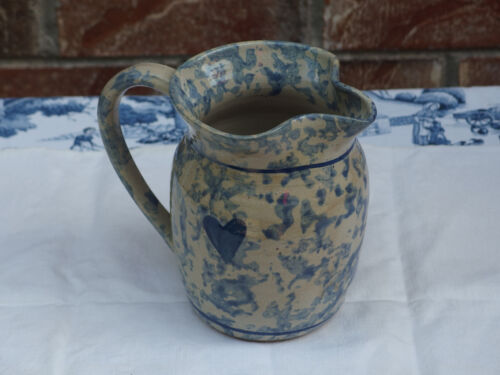 "PRIMITIVE Handmade w/Big Blue Spats Pottery PITCHER 5.75"" high, signed PREOWN"