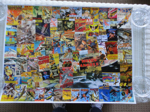 ORIGINAL ART - AVIATION MOVIE THEME - AIRCRAFT COLLAGE - WINGS STAR WARS PULPS+