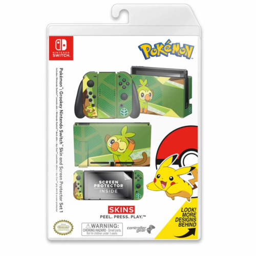Controller Gear Pokemon Grookey Switch Skin & Screen Protector Set NEW