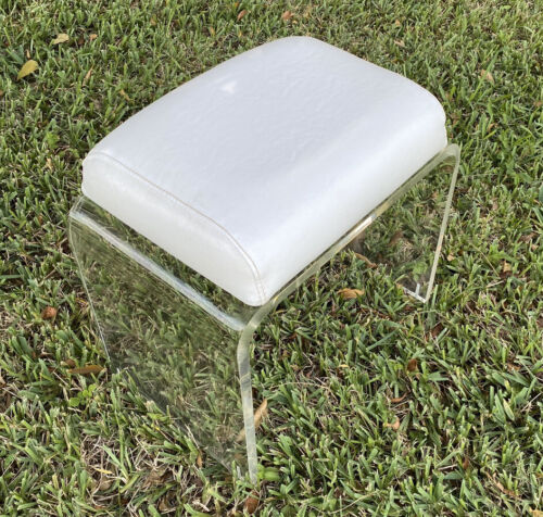 Vintage 70's Thick Lucite Vanity Bench / Stool