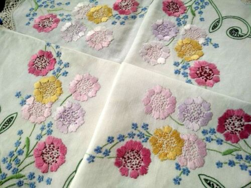 Gorgeous Pastel Flowers  Vintage Hand Embroidered Tablecloth