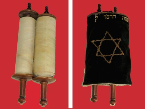 COMPLETE MINIATURE AUTHENTIC TORAH BIBLE SCROLL ON PARCHMENT ITALIAN WRITING