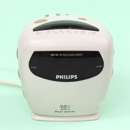 Retro PHILIPS AJ3140 FM MW Clock Radio with Dual Alarm in White