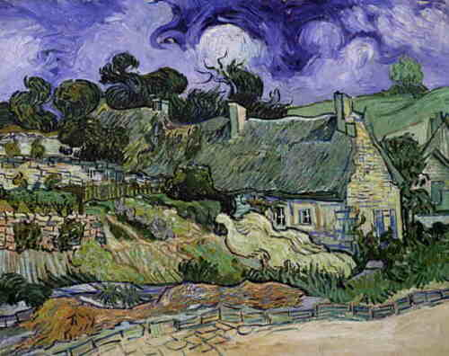 Vincent  Van Gogh Thatched Cottages in Cordeville  Giclee Canvas Print