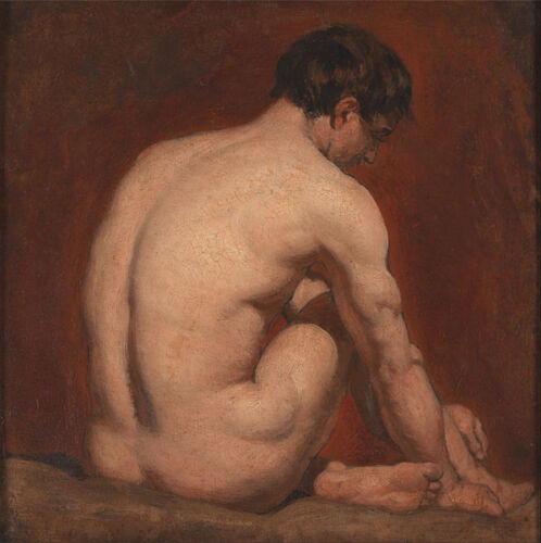 William Etty - Male Nude, Kneeling, from the Back Giclee Canvas Print