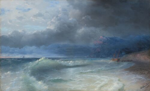 Ivan Aivazovsky SHIPWRECK ON A STORMY MORNING Giclee Canvas Print
