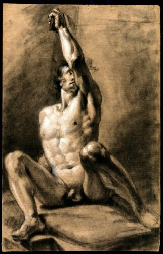 A seated male nude with his left arm raised Giclee Canvas Print
