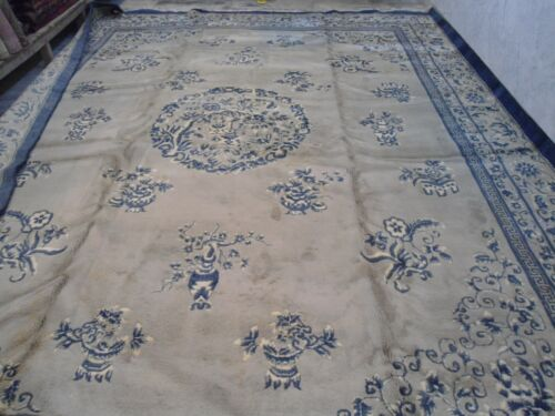 circa 1970s india  large wool rug carpet  medallion  handknotted 12x15