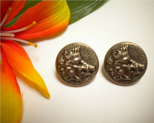2 ANTIQUE WILD BOAR HEAD WHITE METAL FRENCH HUNTING PICTURE BUTTONS