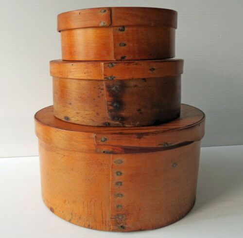 Antique Round WOOD PANTRY BOX with Cover - 3 Sizes