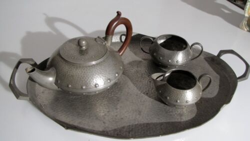 TEAPOT ARTS AND CRAFTS STYLE BEATEN PEWTER TEA SERVICE W&CO ENGLAND