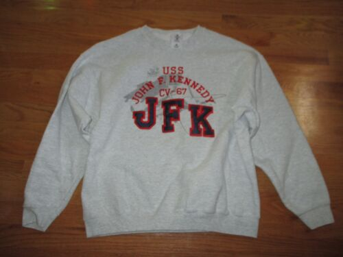 Vintage USS KENNEDY CV-67 Aircraft Carrier Embroidered (LARGE) SweatshirtReproductions - 156452