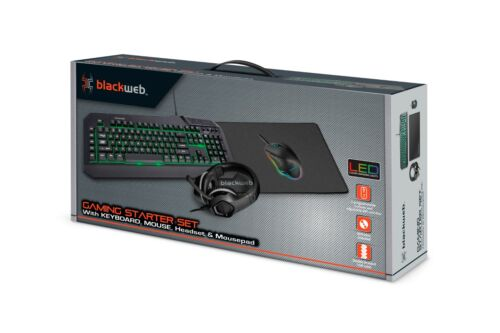 Blackweb Gaming Starter Kit with Keyboard, Mouse, Mousepad and Headset
