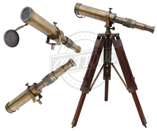 "10"" Telescope with Wooden Tripod Antique Marine Brass Royal Navy Tabletop Decor"