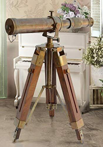Antique Telescope with Wooden Tripod Marine Brass Royal Navy Tabletop Decor 10""