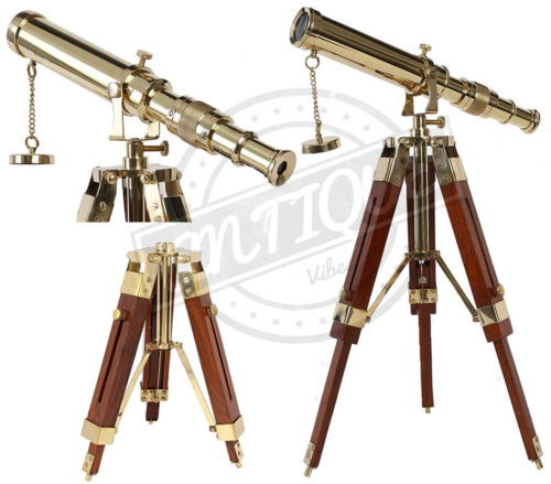 Antique Brass Telescope w/ Wooden Tripod Stand Collectible Desk/Shelf Decor Gift