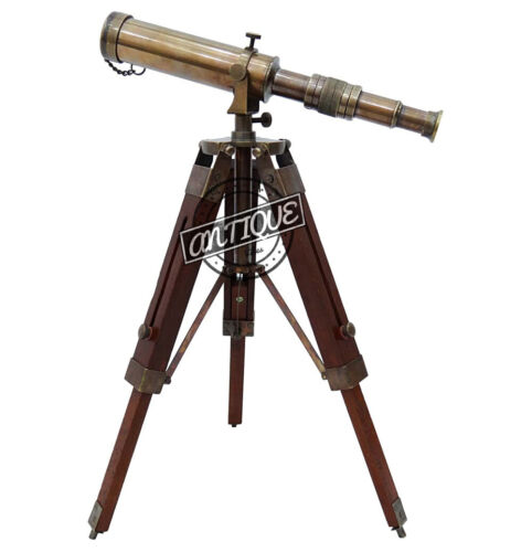 Wooden Tripod Telescope with Antique Vintage Brass Royal Navy Desktop Decor Gift