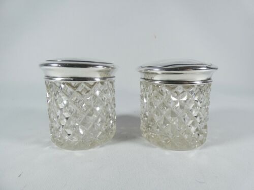 Antique Edwardian 1915 Pair of Sterling Silver Glass Dressing Table Bottles Jars