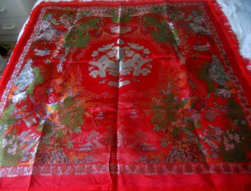 EARLY VINTAGE CHINESE SCENES RED BROCADED FLOWERS SILKY PIANO SHAWL 97 X 97 CM